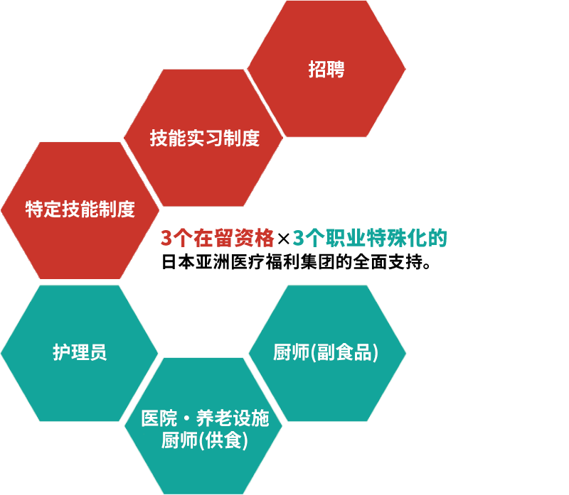 3个在留资格×3个职业特殊化的日本亚洲医疗福利集团的全面支持。